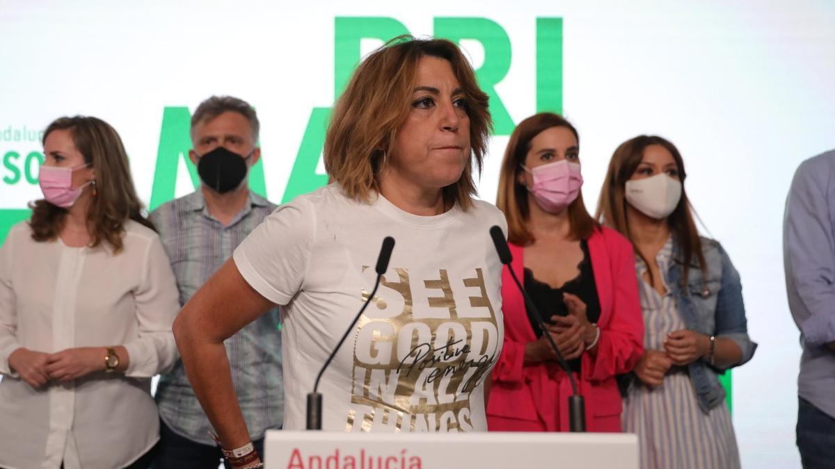 Susana Díaz durante su comparecencia.