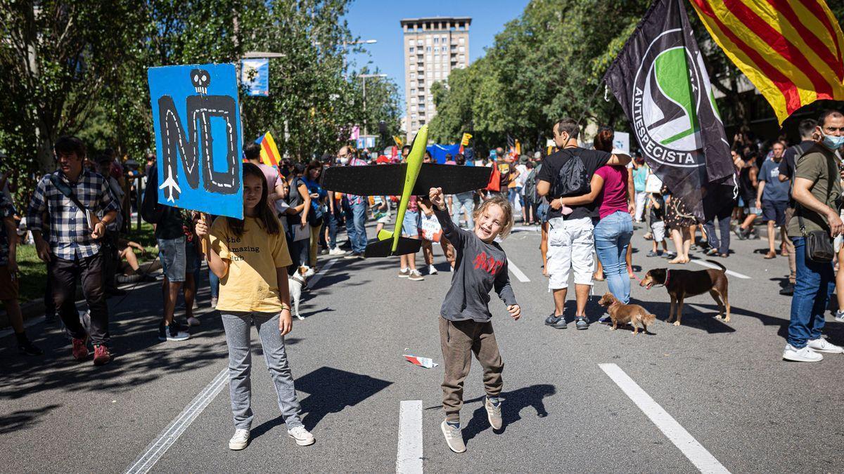 Manifestación contra la ampliación del aeropuerto de Barcelona.