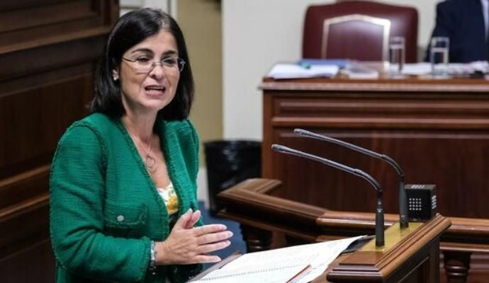 Carolina Darias, durante un pleno del Parlamento d