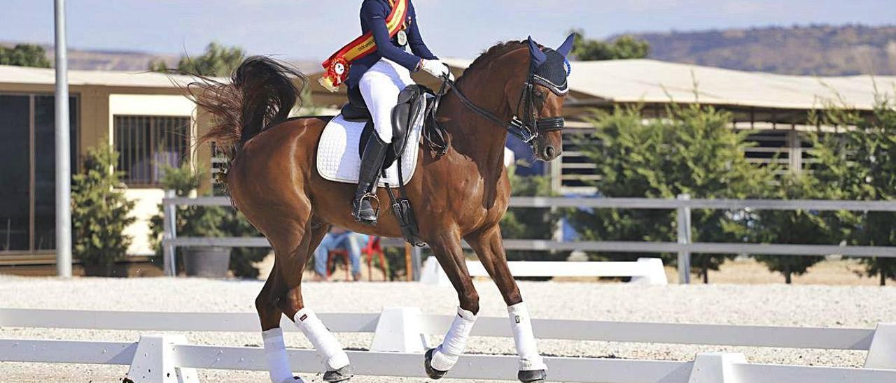 La amazona, a lomos de su caballo.
