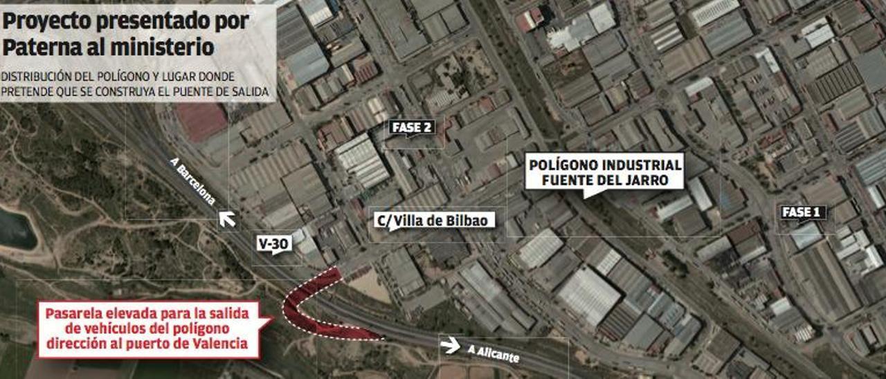 Paterna reclama a Fomento un puente  de salida desde Fuente del Jarro a la V-30