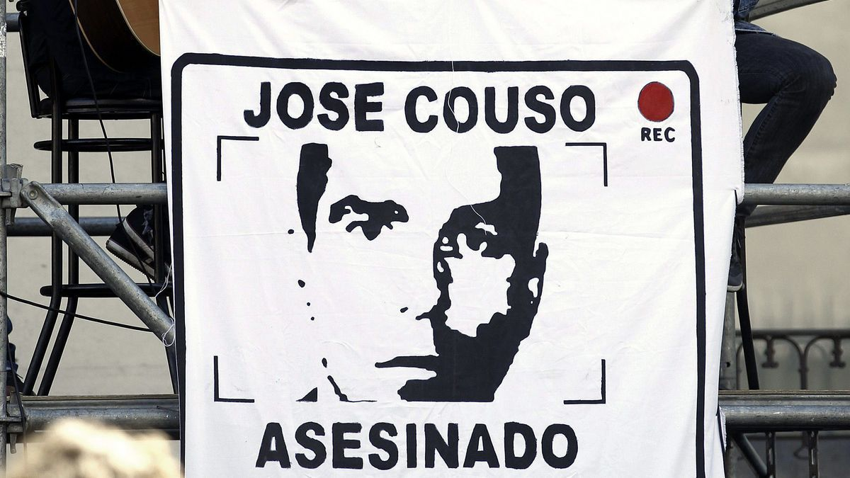 Cartel de José Couso, en un acto de homenaje.