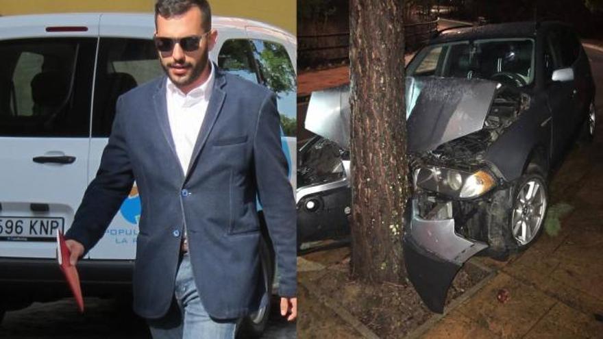Un alto cargo de Podemos empotra su coche contra un árbol en Nochevieja