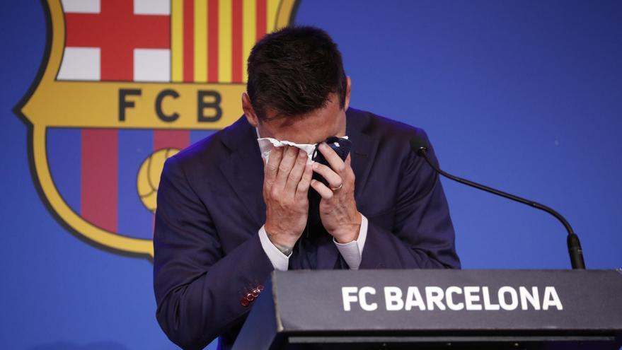 Messi se despide de 'su' Barça entre sollozos