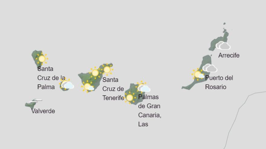 Canarias espera este martes un ligero descenso de temperaturas y pequeñas lloviznas