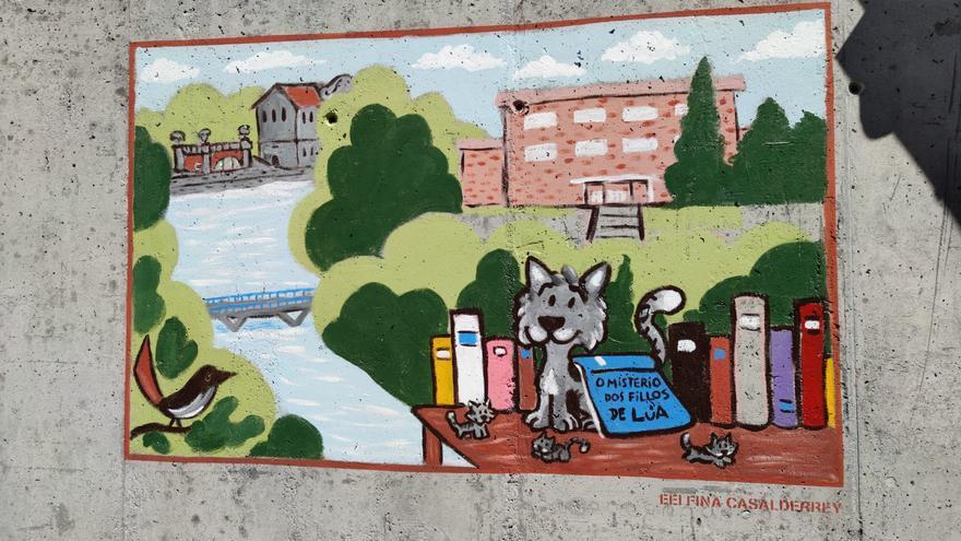 El mural de la escuela Fina Casalderrey homenajea al Lérez