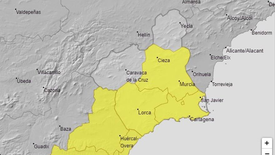 Aviso amarillo por fuertes lluvias esta noche en la Región