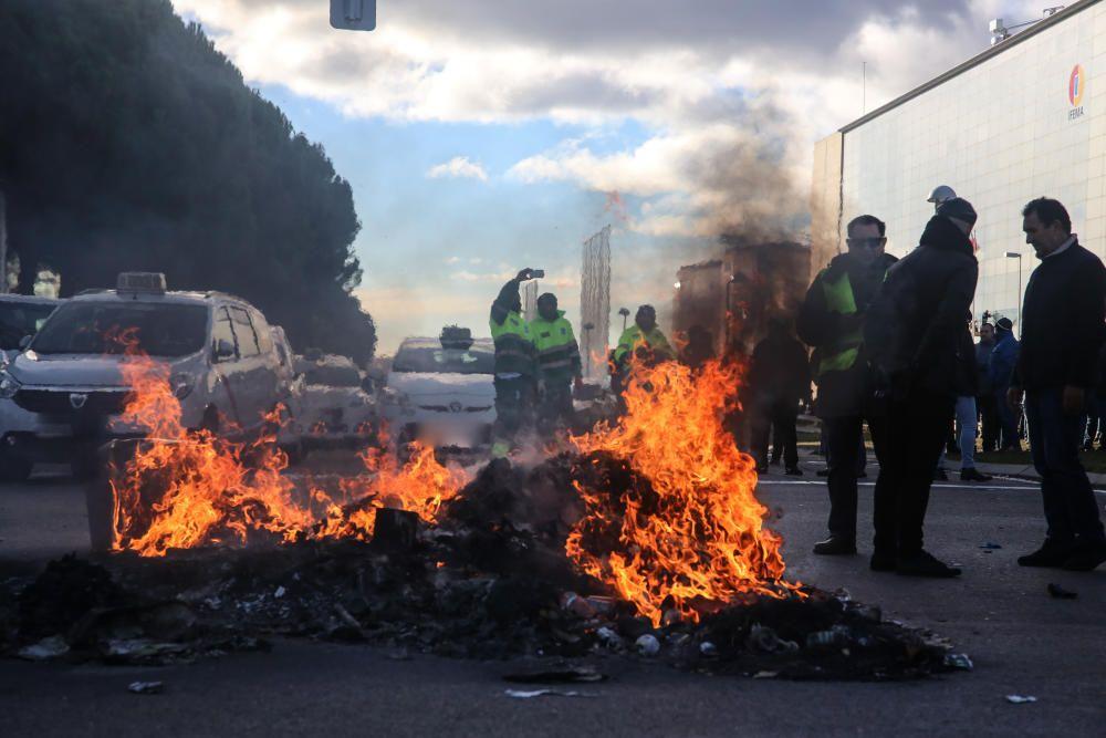 Las imágenes de las protestas de los taxistas.