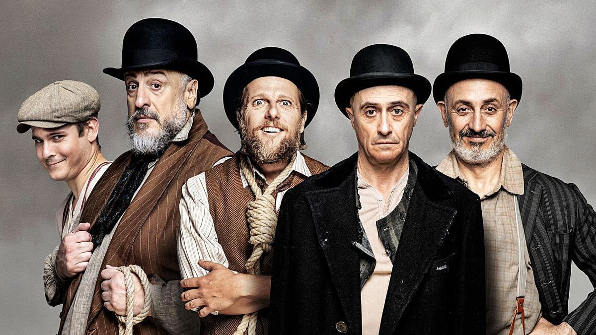 """Elenco de la obra """"Esperando a Godot"""", que se pone hoy sobre las tabla del Teatro Principal."""