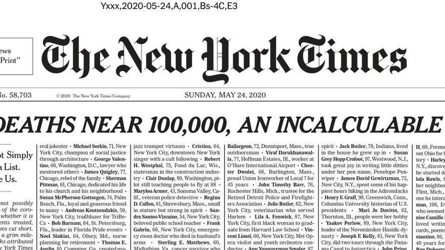 'The New York Times' publica la portada més emotiva de la seva història