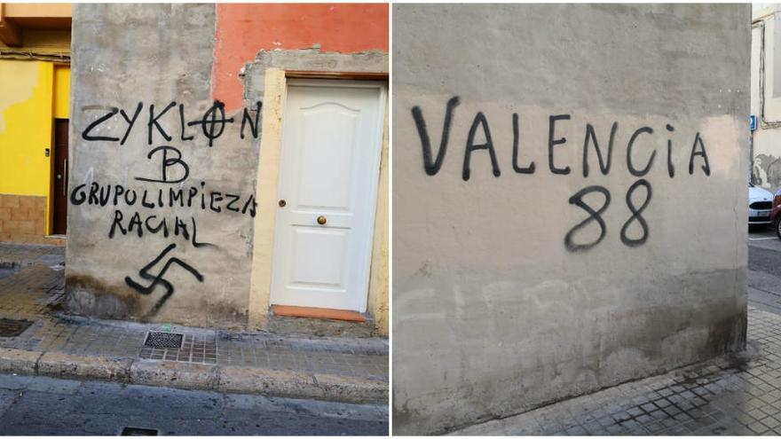 Aparecen pintadas nazis cerca de un colegio en el Cabanyal