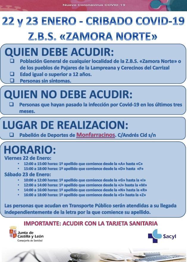Cartel informativo sobre el cribado de COVID-19 en Zamora Norte, difundido por el Sacyl.