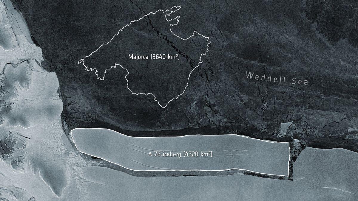 Comparació de la mida de l'iceberg amb la illa de Mallorca