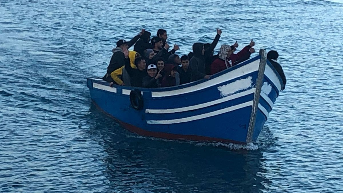 Migrants in a boat.
