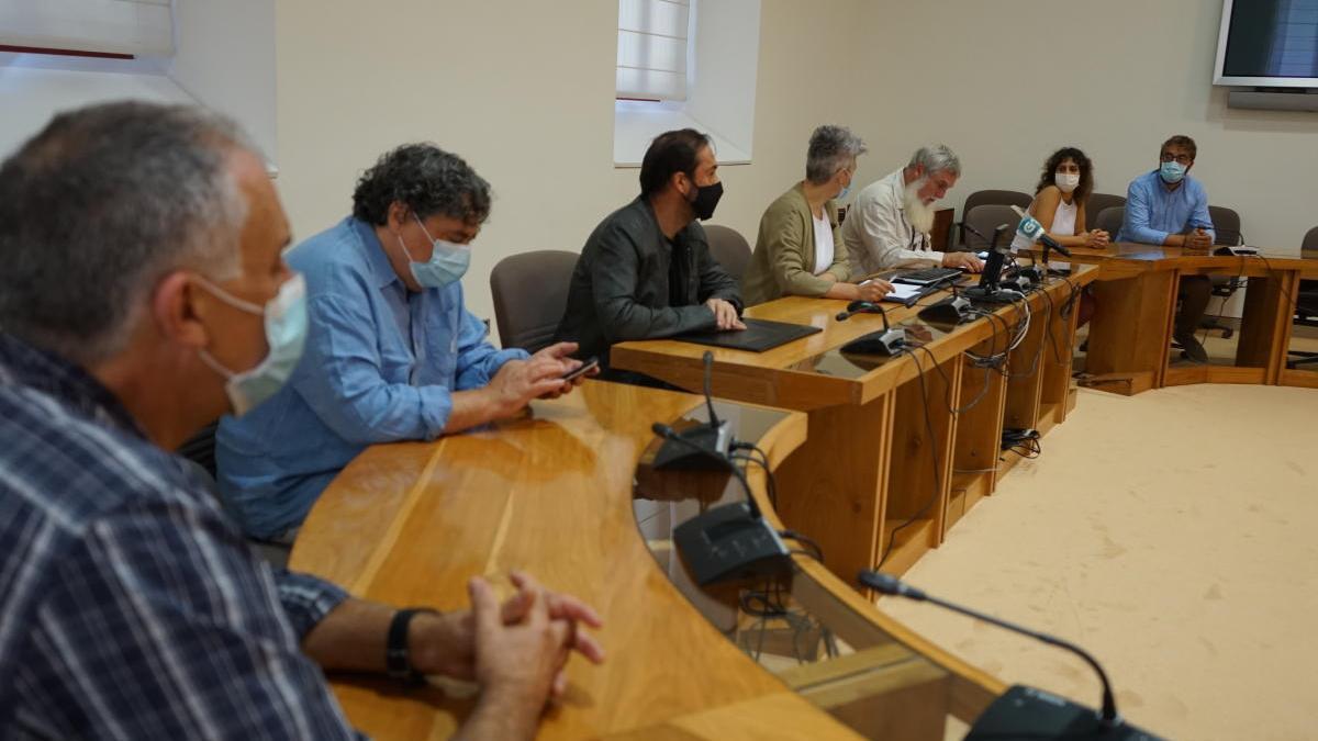 Ediles del BNG de concellos afectados por la supresión de la línea, con representantes parlamentarios.