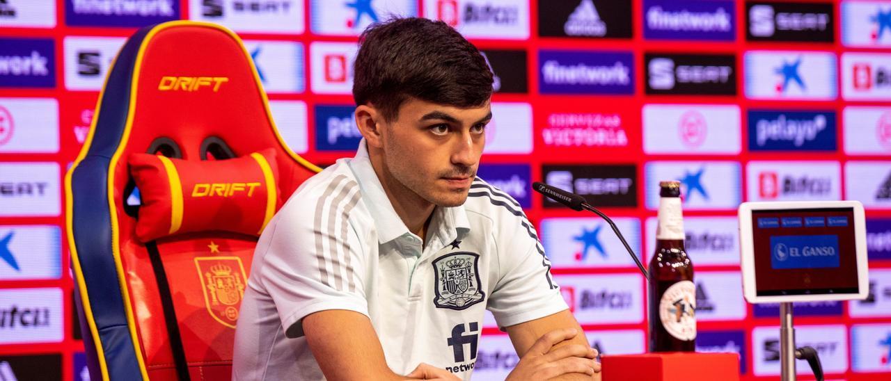Pedro González López, Pedri, esta mañana, durante la rueda de prensa tras el partido ante Suecia.