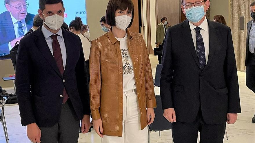 Diana Morant y José Manuel Prieto, juntos de nuevo con Ximo Puig como testigo en Madrid