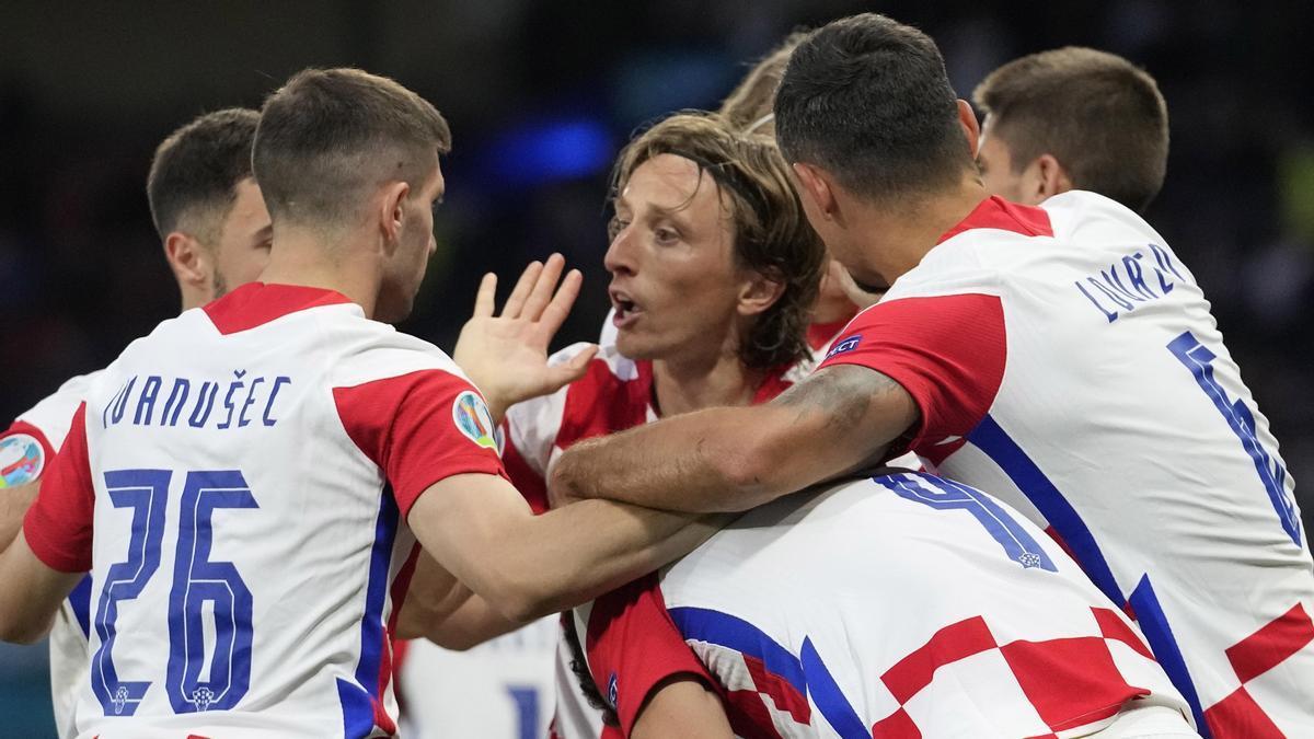 Los jugadores de Croacia celebran un gol en un partido de la Eurocopa.