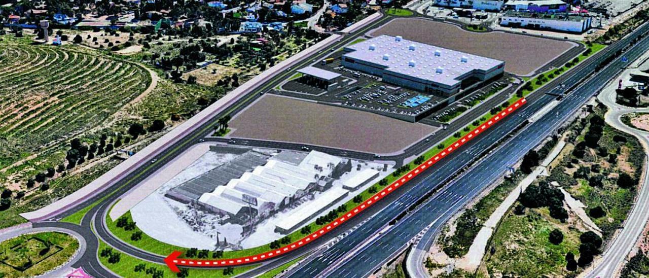 Figuración de la futura tienda de Costco, y el nuevo vial en la salida de la CV-35.