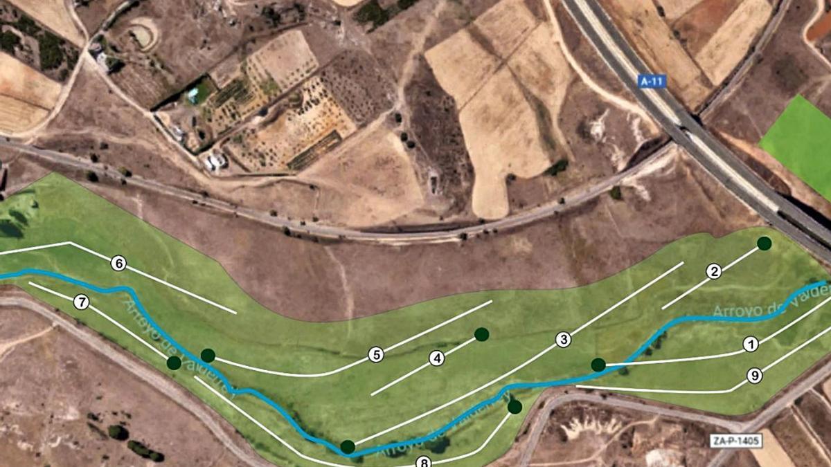 Disposición de hoyos en el campo de golf de Valderrey. | Proyecto