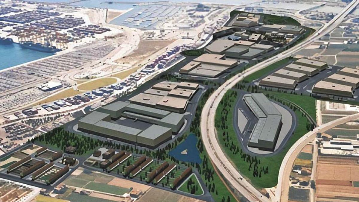 Imagen aérea del proyecto de zona de actividades logísticas (ZAL) de Valenciaport. | LEVANTE-EMV