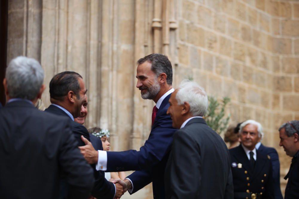 El Rey, a su llegada a Sant Nicolau.