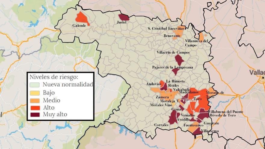 Mapa de coronavirus de Zamora, hoy, martes | Benavente, por debajo de los diez casos COVID reales en dos semanas
