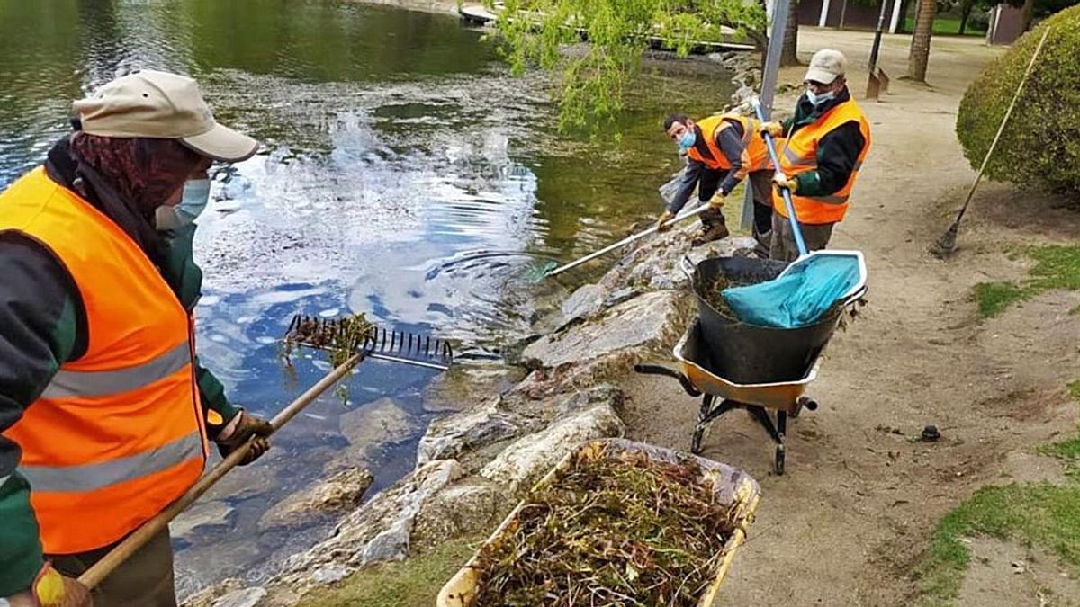 Un equip d'operaris retira la capa superficial de llapó de l'estany de Puigcerdà | AJ PUIGCERDÀ