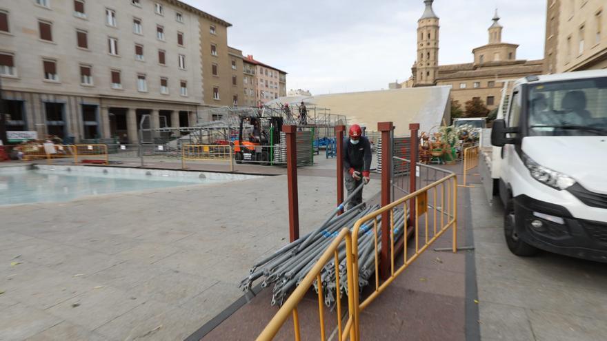 FOTOGALERÍA   Desmontaje de la Virgen en la plaza del Pilar