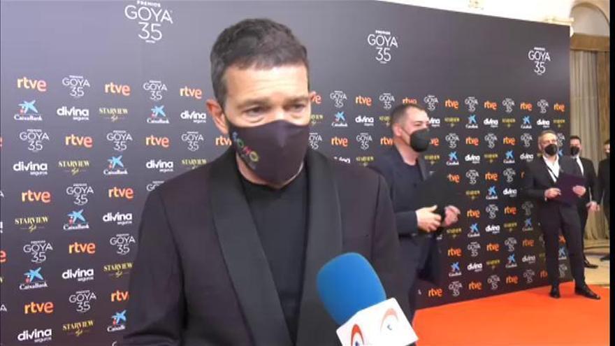 Banderas reivindica en la alfombra de los Goya el papel terapéutico del cine en pandemia