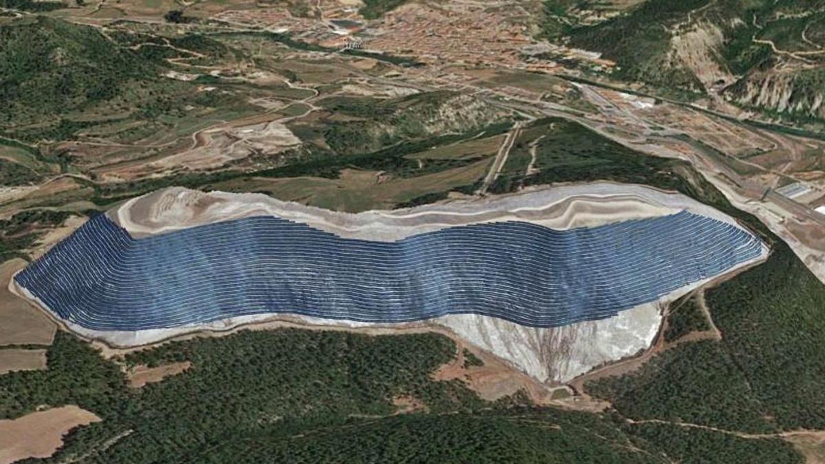 Simulació de com seria el camp fotovoltaic del Cogulló, segons l'avantprojecte