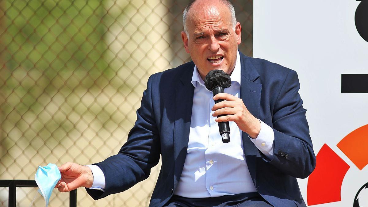 Javier Tebas durante un acto reciente de la  patronal de clubes.  efe