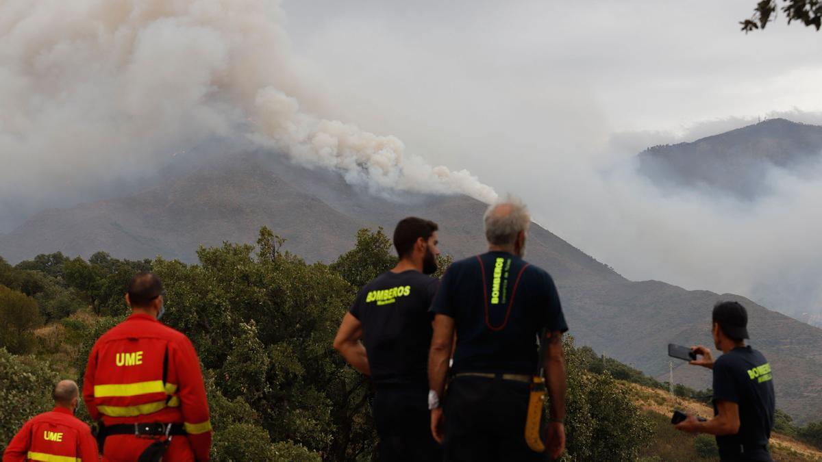 El incendio en Sierra Bermeja, visto desde Casares.