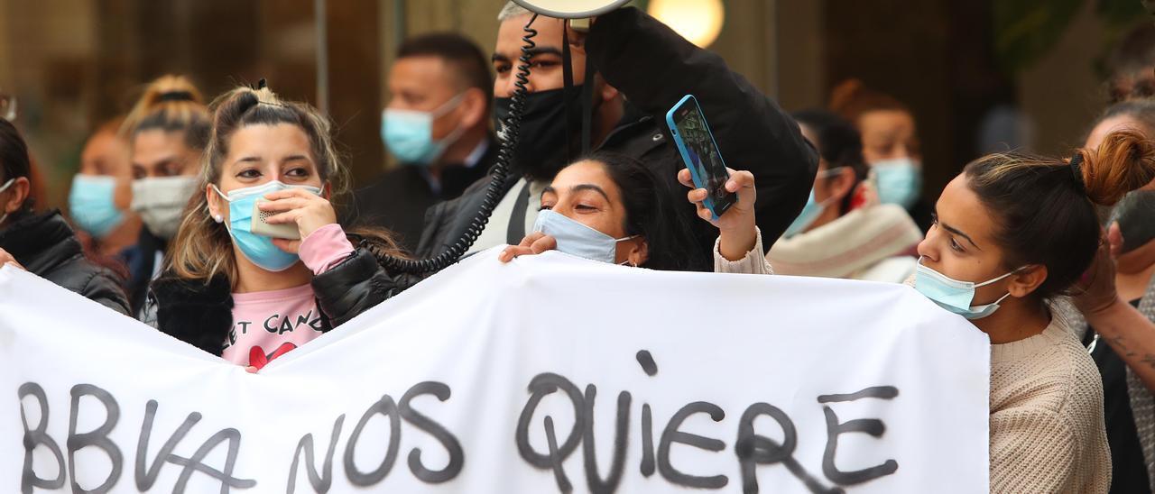 Una protesta de desahucios.