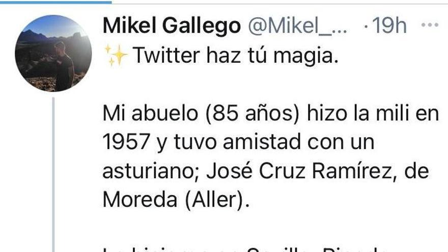 Twitter hizo su magia: un anciano de Girona encuentra a su amigo allerano de la mili a través de la red social
