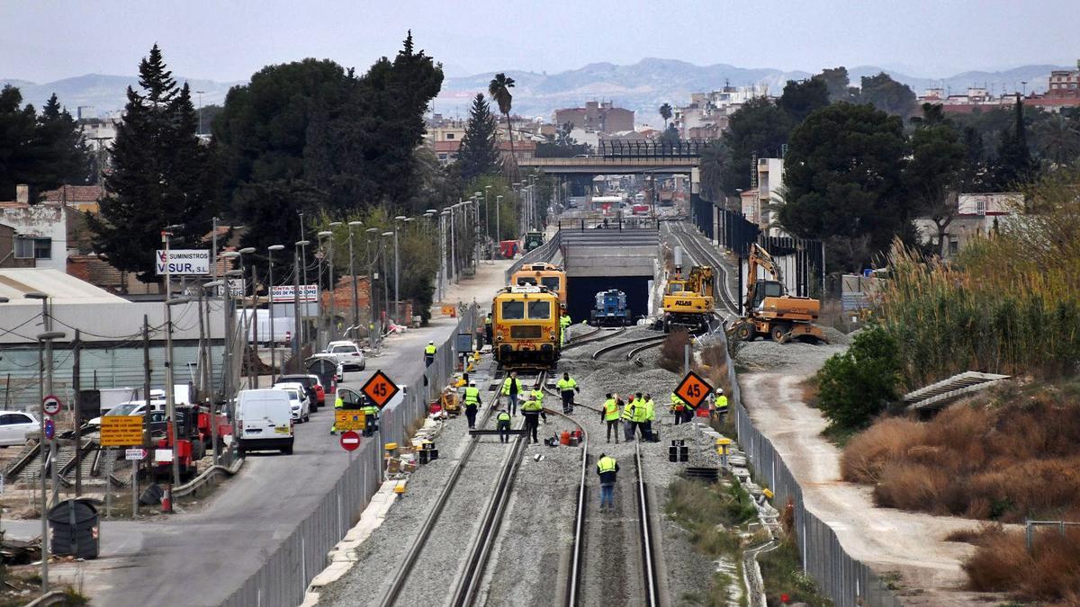 Obras del soterramiento a su paso por Murcia.