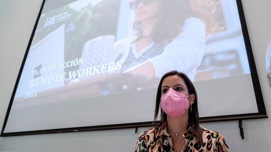Yaiza Castilla explica el plan para atraer a Canarias a 30.000 'nómadas digitales'
