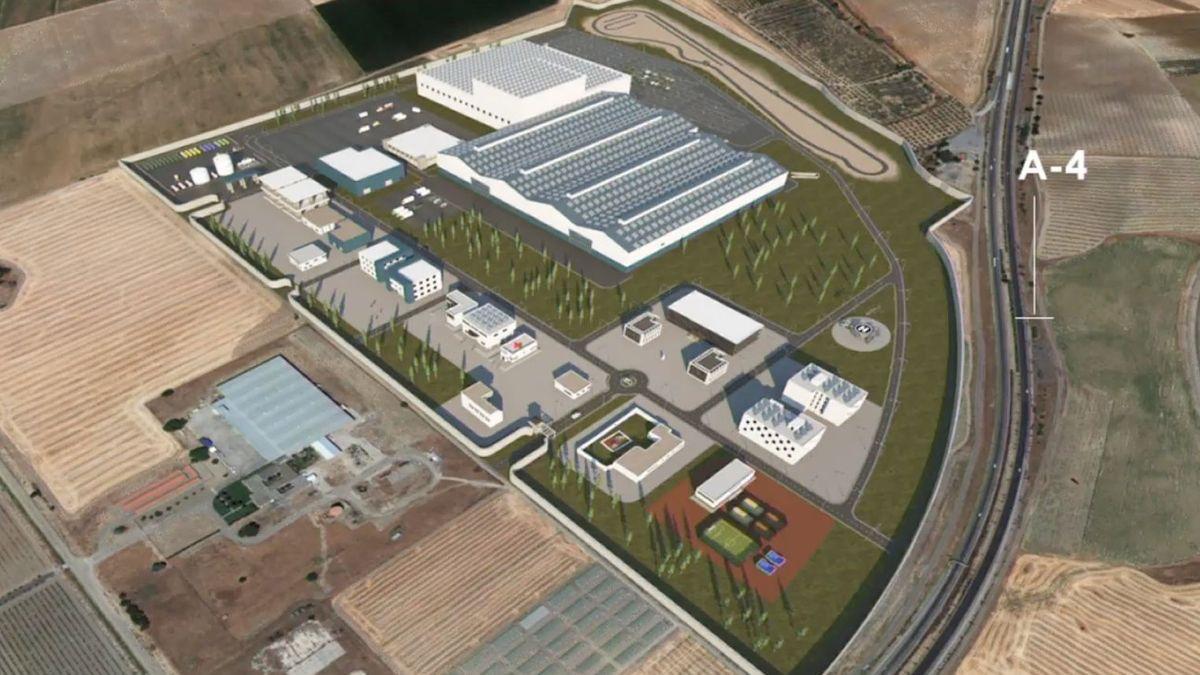 Vista del proyecto del ET sobre la base logística en La Rinconada, junto a la A-4.