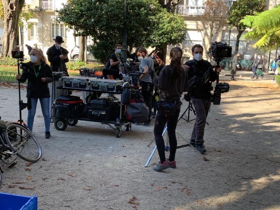 Momentos del rodaje de la serie de Amazon en Vigo. // FdV