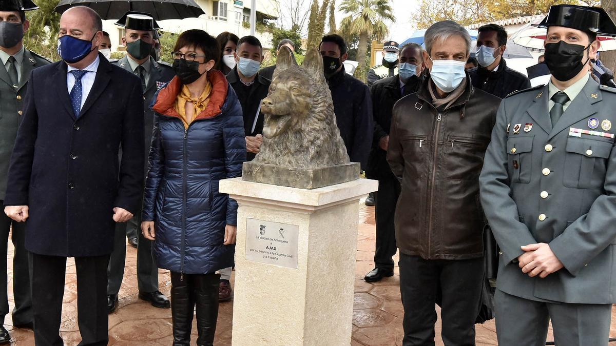 Antequera (Málaga) rinde homenaje al perro de la Guardia Civil 'Ajax', que evitó un atentado terrorista, con un busto