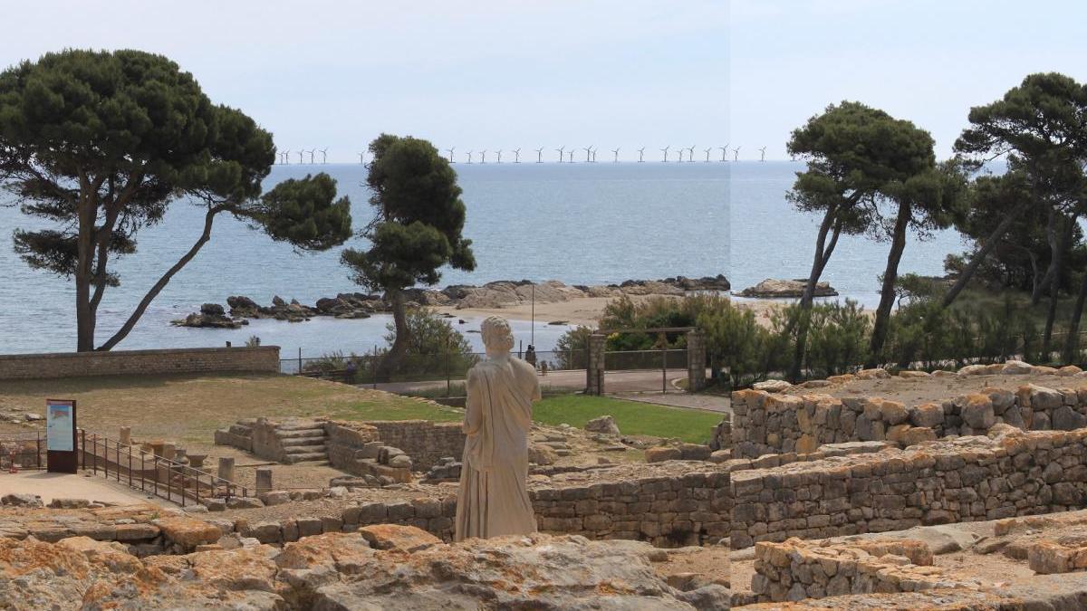 Reproducció de com es veuria el Parc Eòlic des de les ruïnes d'Empúries.