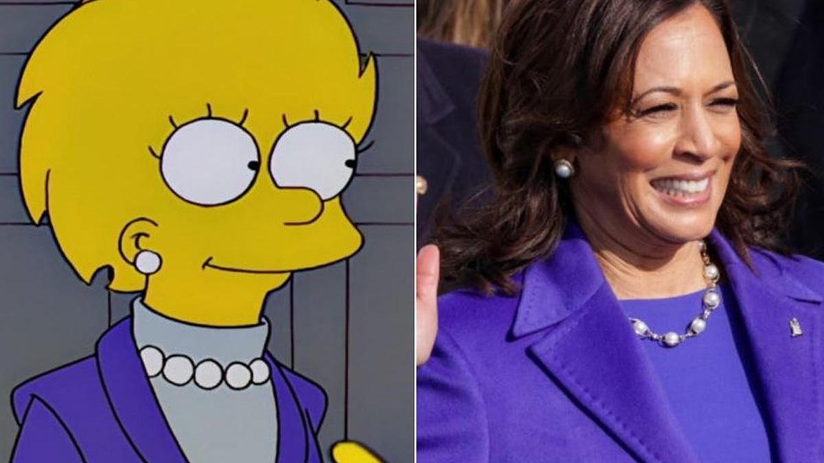Lisa Simpson, como presidenta de EEUU, y Kamala Harris, en su jura como vicepresidenta.
