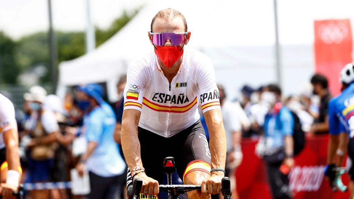 Alejandro Valverde, antes del inicio de la prueba