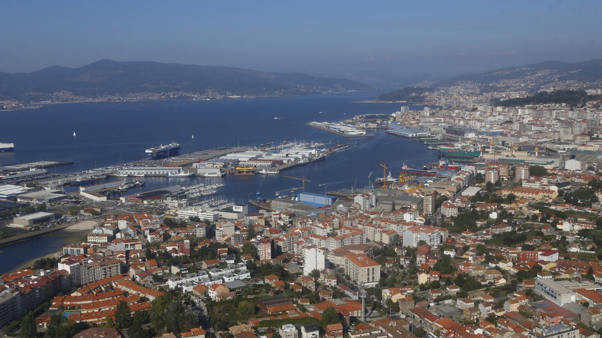 Vista aérea de Vigo.