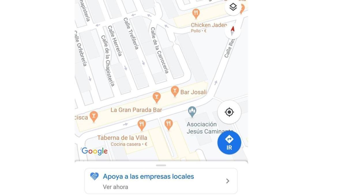 Apoyo al comercio local desde Google Maps.