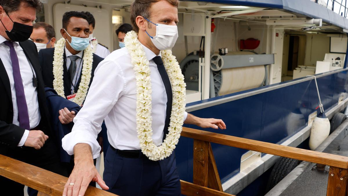 Emmanuel Macron, en una visita esta semana a Tahití, en la Polinesia francesa.