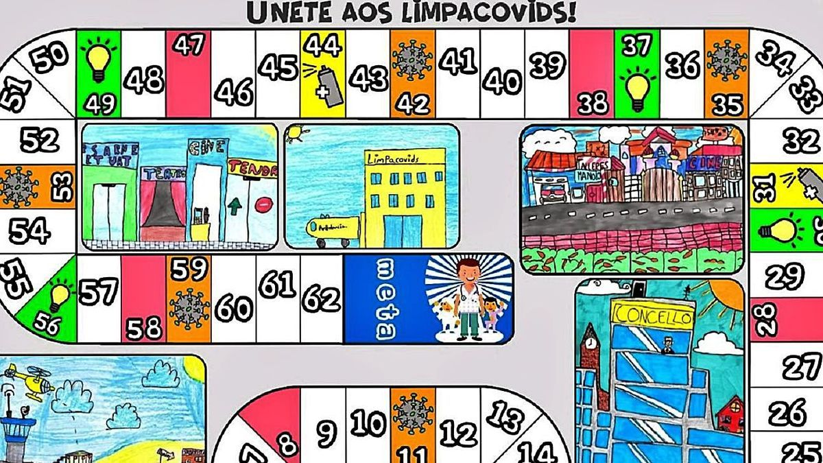 Tablero del juego de mesa creado por alumnos del Parga Pondal, iniciativa premiada por la Xunta.     // L.O.