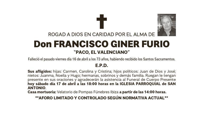 Esquela Francisco Giner Furio