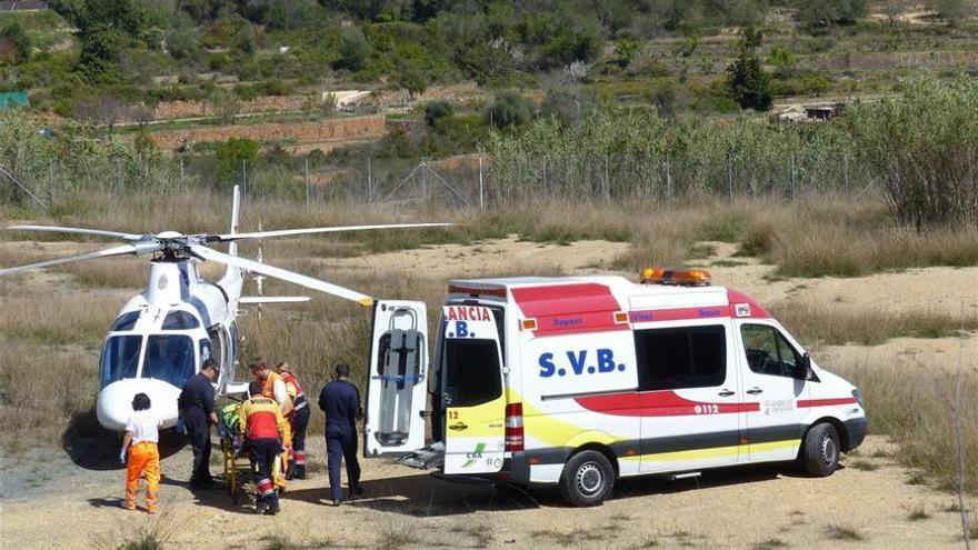 Un ciclista herido después de sufrir un accidente en Villamalur