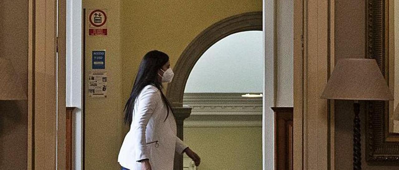 La diputada de Cs Vidina Espino, en los pasillos del Parlamento regional.     RAFA AVERO